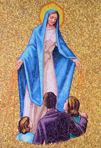 Blessed Mother Mary praying for children