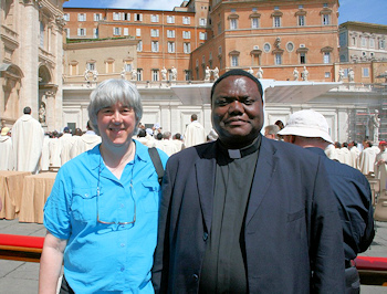 food for faith: Terry Modica with Mons. Joseph Kimu in Rome