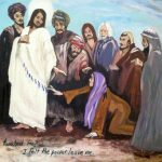 a suffering woman touches the hem of Jesus' cloak - art by Sherry Phillips