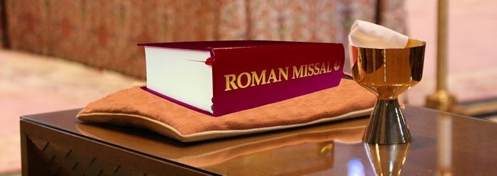 Roman Missal and chalic ready for Mass - Catholic Doctrine